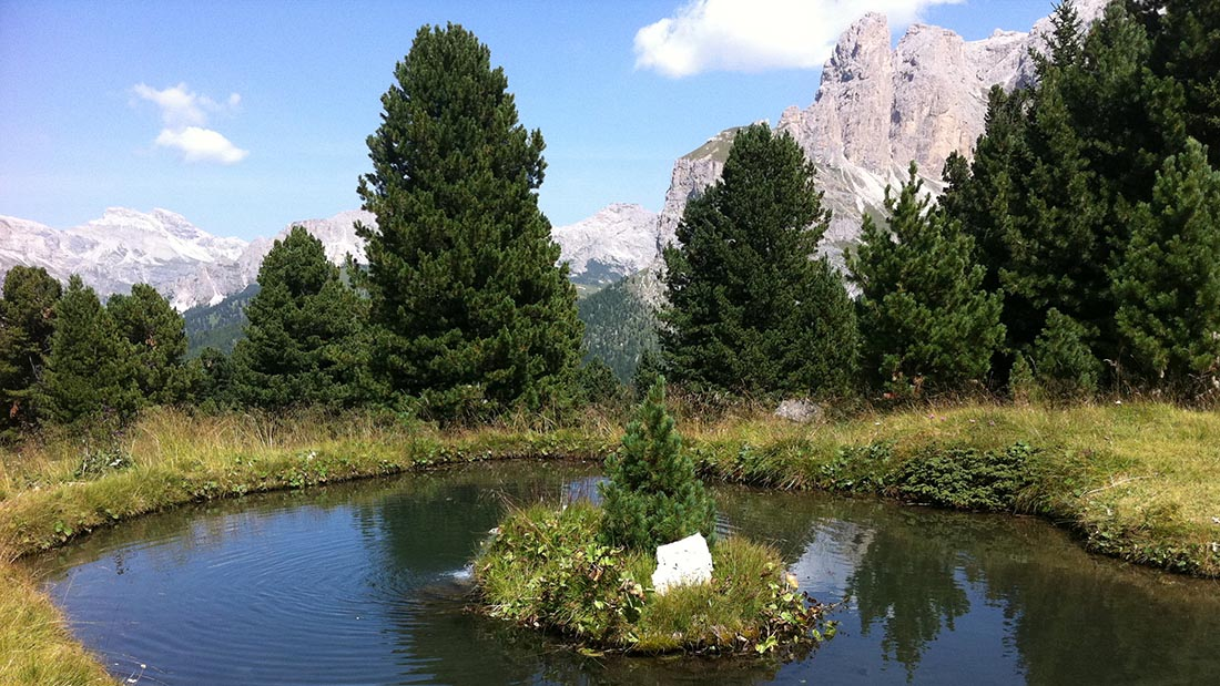 Mountain pond in the Dolomites